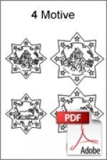 Download kostenlose Laubsägevorlage 4x Baumschmuck Anhänger