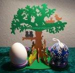 Laubsägevorlage Ostern Frühling - Ei Halter Baum